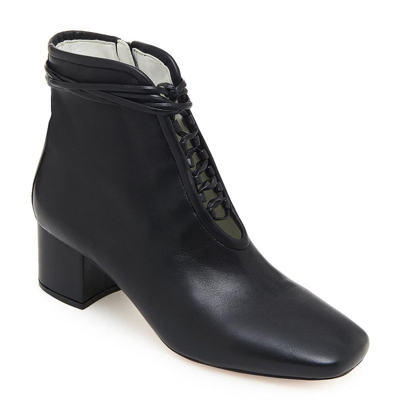 Daniella Shevel Cleo Black Nappa Leather Boot with Low Heel and Black Laces Detail View