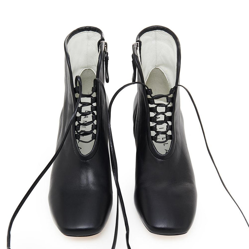 Daniella Shevel Cleo Black Nappa Leather Boot with Low Heel and Black Laces Front View