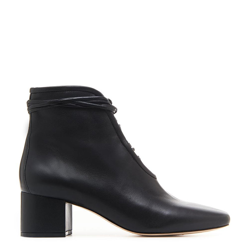 Daniella Shevel Cleo Black Nappa Leather Boot with Low Heel and Black Laces Side View