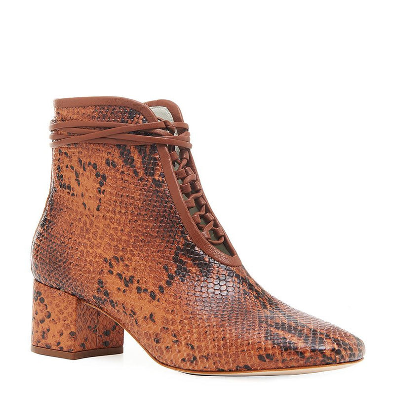 Daniella Shevel Cleo Brown Snake Printed Leather Boot with Low Heel and Brown Laces Detail View