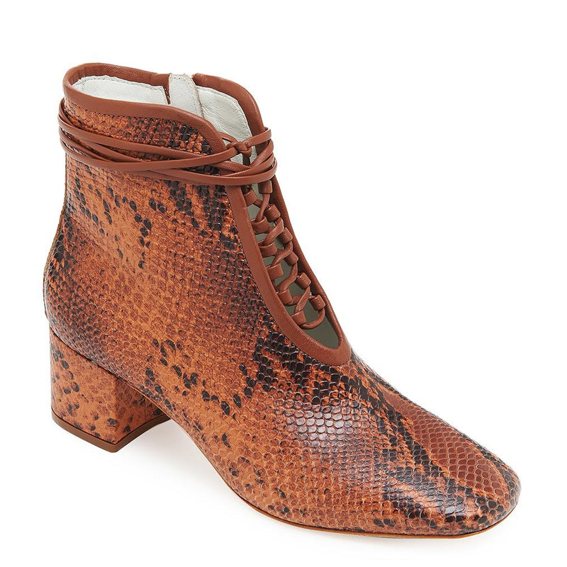 Daniella Shevel Cleo Brown Snake Printed Leather Boot with Low Heel and Brown Laces Side Angle View