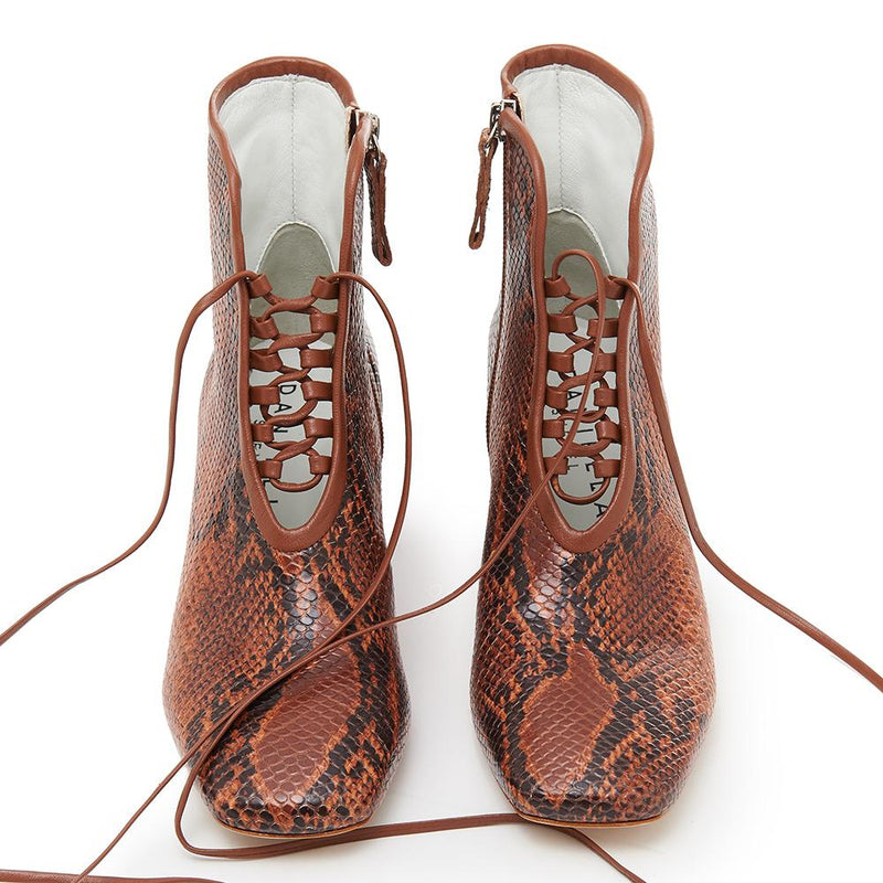 Daniella Shevel Cleo Brown Snake Printed Leather Boot with Low Heel and Brown Laces Front View