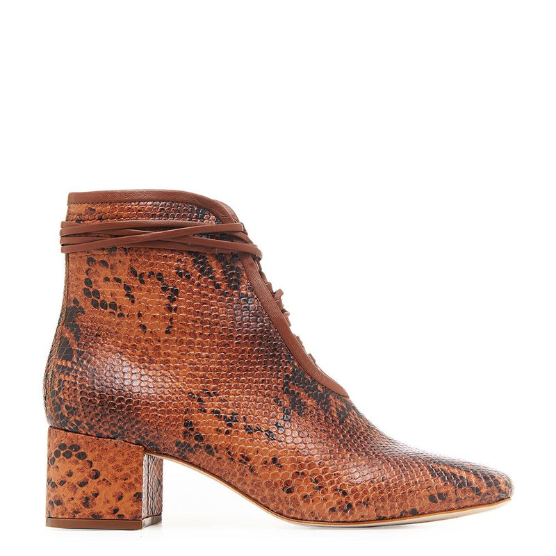 Daniella Shevel Cleo Brown Snake Printed Leather Boot with Low Heel and Brown Laces Side View