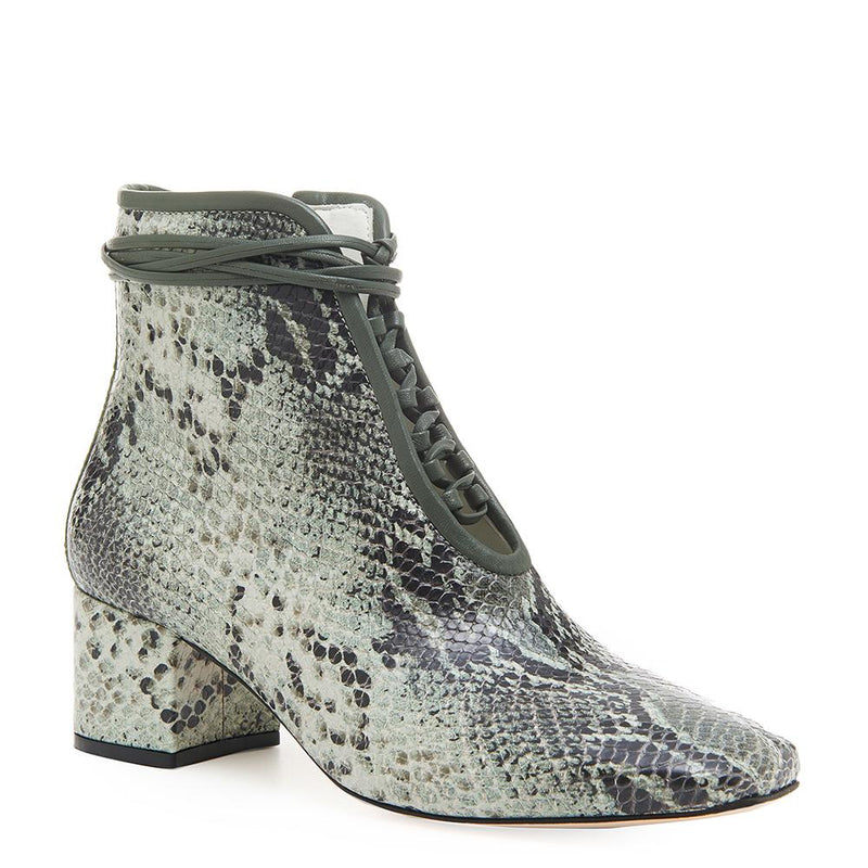 Daniella Shevel Cleo Green Snake Printed Leather Boot with Low Heel and Green Laces Angle View