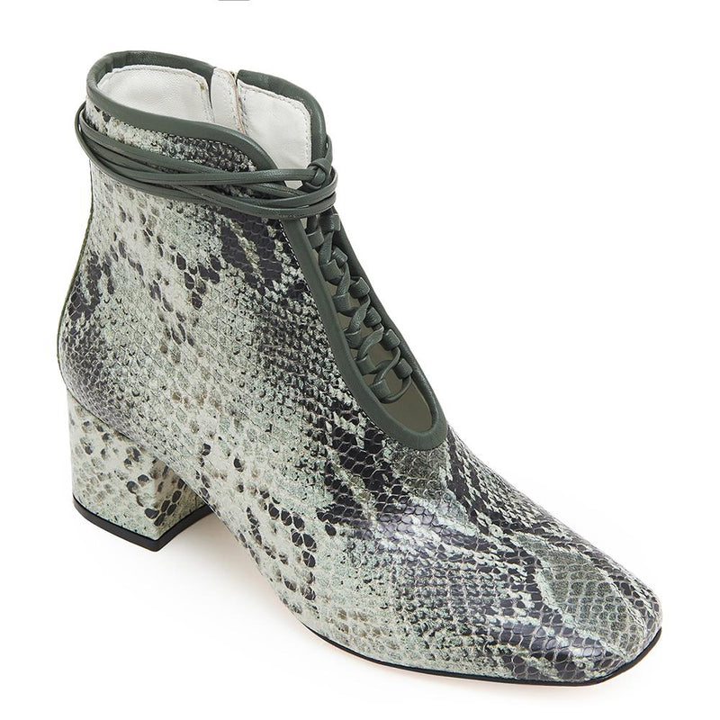 Daniella Shevel Cleo Green Snake Printed Leather Boot with Low Heel and Green Laces Detail View