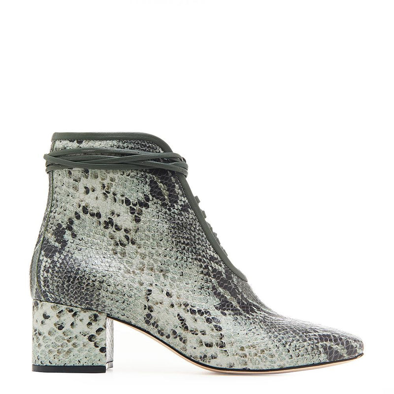 Daniella Shevel Cleo Green Snake Printed Leather Boot with Low Heel and Green Laces Side View