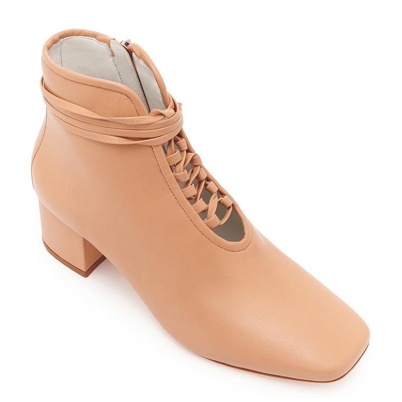Daniella Shevel Cleo Nude Leather Bootie with Low Heel and Nude Laces Angle View