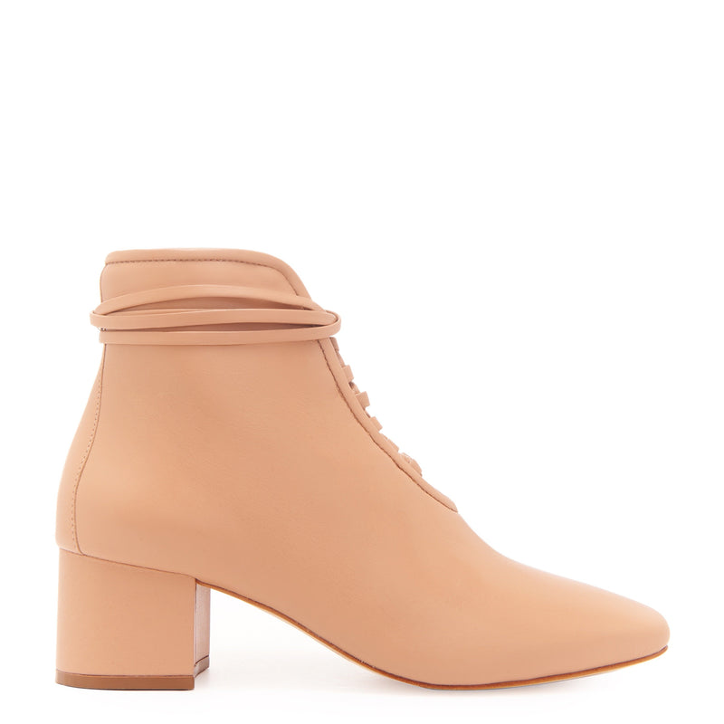 Daniella Shevel Cleo Nude Leather Bootie with Low Heel and Nude Laces Side View