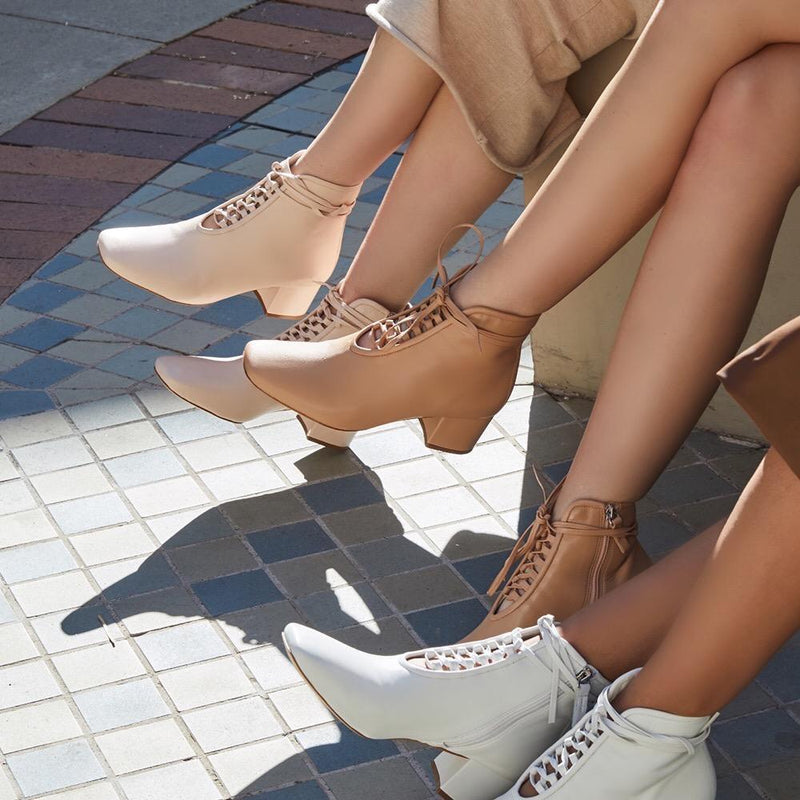 Daniella Shevel Cleo Pastel Pink Nude White Nappa Leather Boot with low Heel on models in Los Angeles