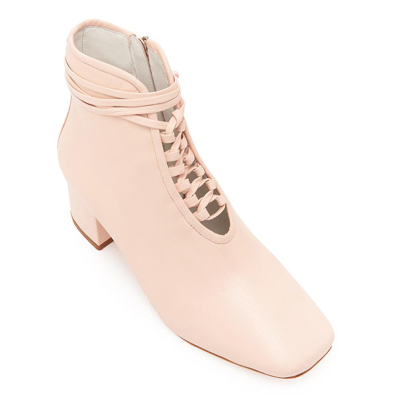 Daniella Shevel Cleo Pastel Pink Leather Bootie with Low Heel and Pastel Pink Laces Angle View