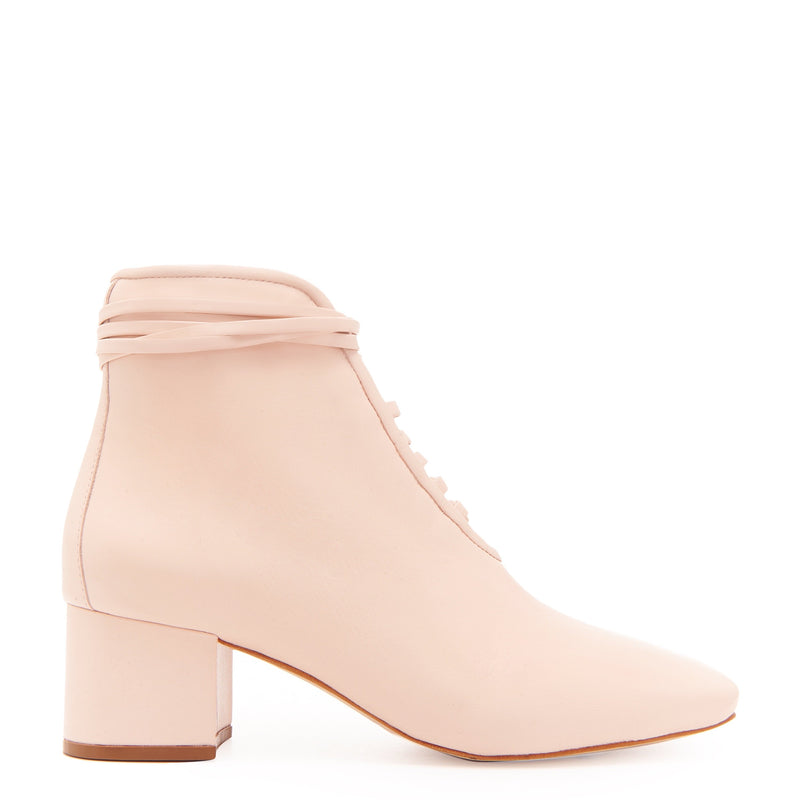 Daniella Shevel Cleo Pastel Pink Leather Bootie with Low Heel and Pastel Pink Laces Side View