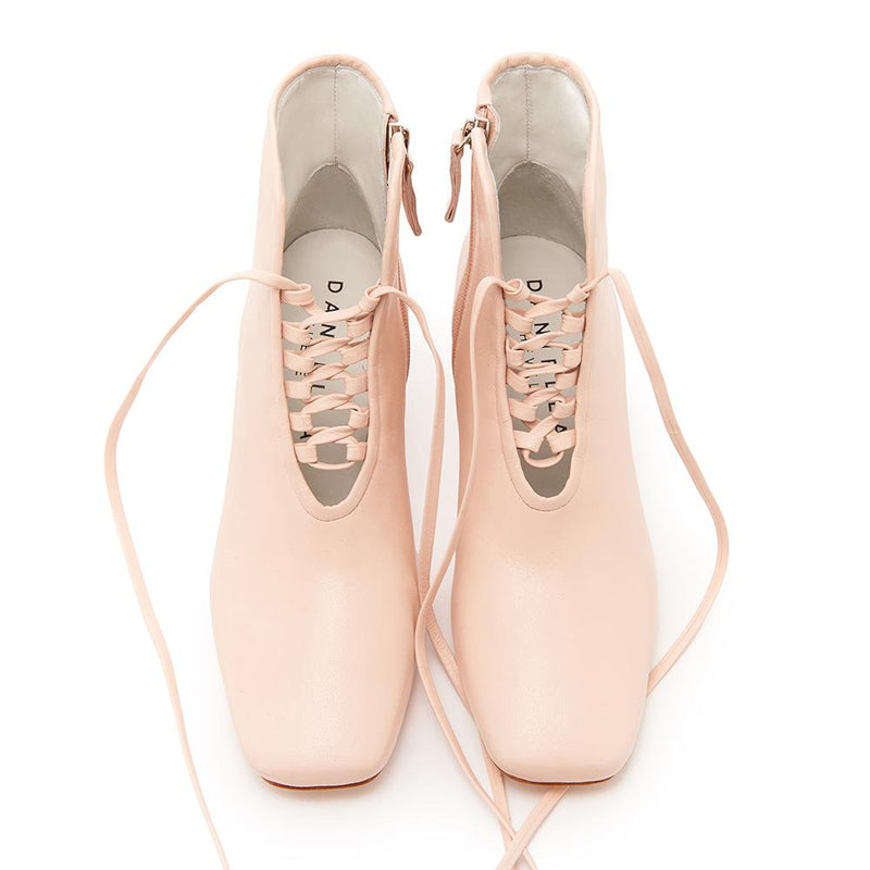 Daniella Shevel Cleo Pastel Pink Leather Bootie with Low Heel and Pastel Pink Laces Front View