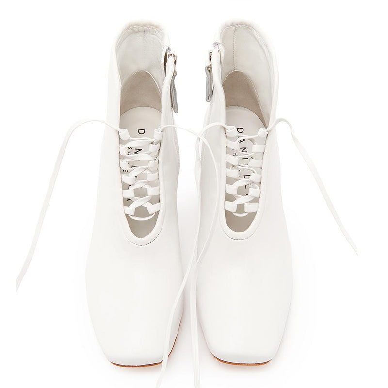 Daniella Shevel Cleo White Leather Bootie with Low Heel and White Laces Front View