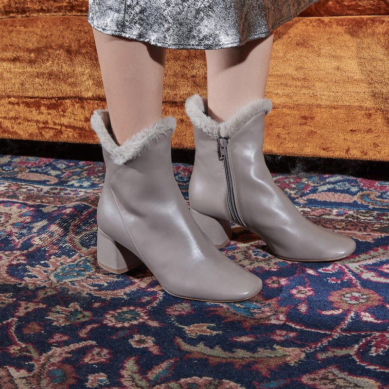 Daniella Shevel Cozy Ex-Boyfriend Grey Leather Bootie with Block Heel on Woman