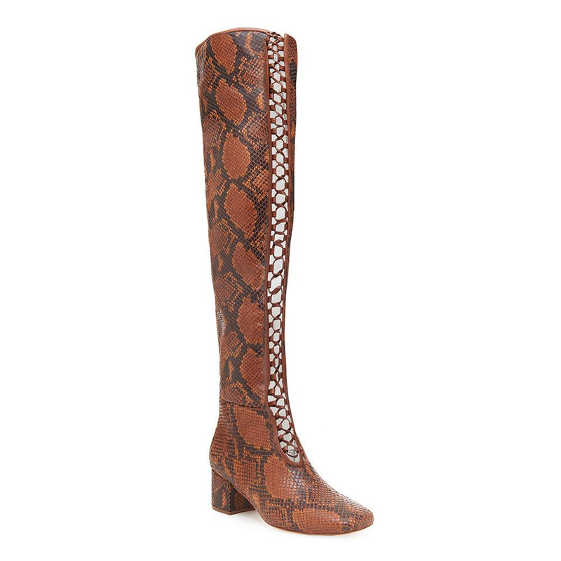Daniella Shevel Koa Brown Printed Snake leather Boot with Low Heel and brown Laces over the knee high rise detail View