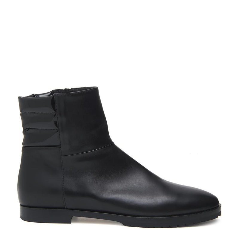 New Moon Womens Calf Leather Black Boot with Leather and Patent Leather Upper Side View