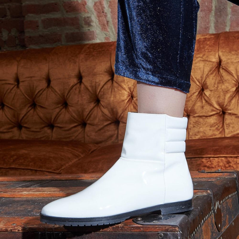 Daniella Shevel New Moon Comfortable White Leather Boot on Woman
