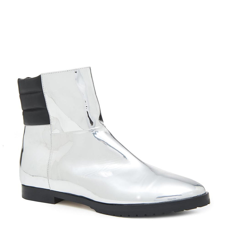 New Moon Womens Metallic Silver Boot with Leather Upper Angle View