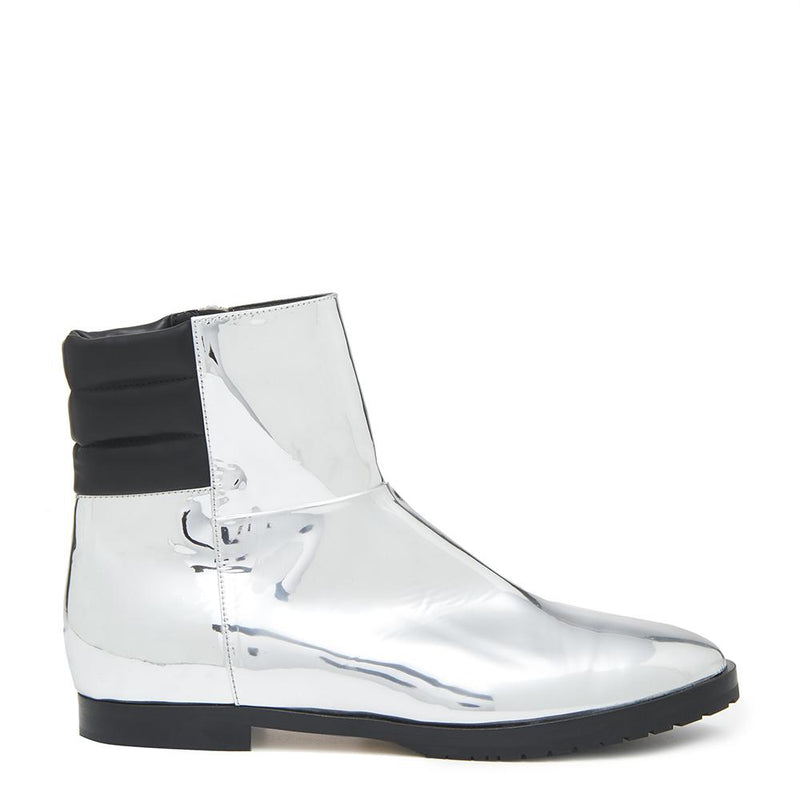New Moon Womens Metallic Silver Boot with Leather Upper Side View
