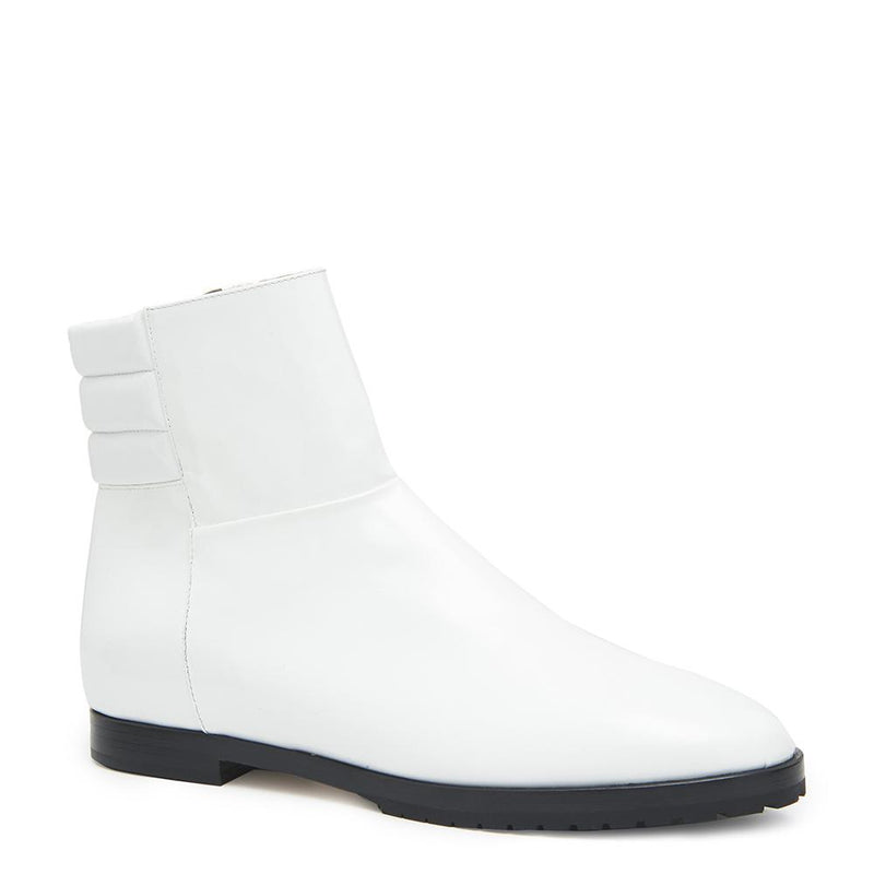 New Moon Womens Patent Leather White Boot with Leather Upper Angle View