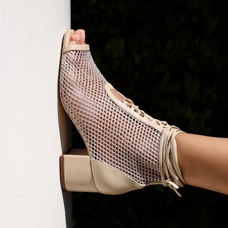 Daniella Shevel Nola Mesh Low heel Open Toe Bootie on model in Neutral Nude