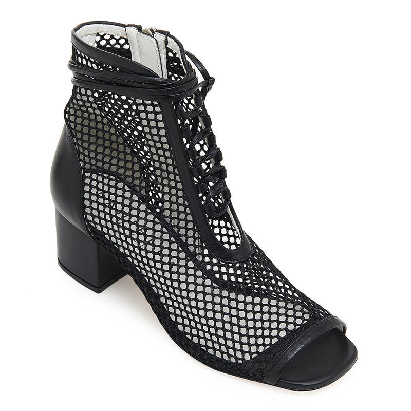 Daniella Shevel Nola Black Mesh Low Heel Bootie Open Toe Front View