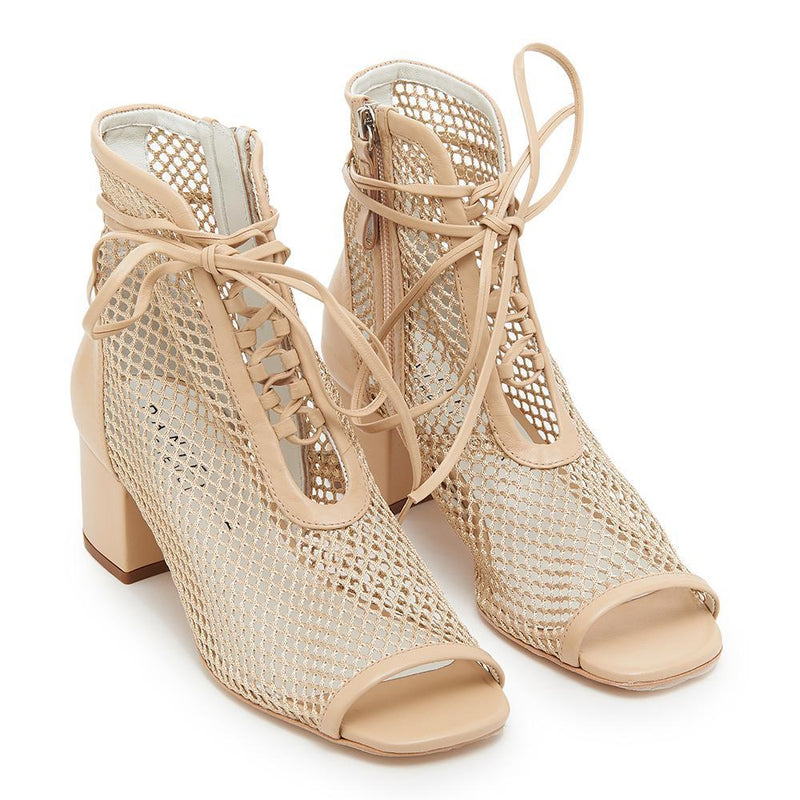 Daniella Shevel Nola Nude Mesh Low Heel Bootie Open Toe Top View