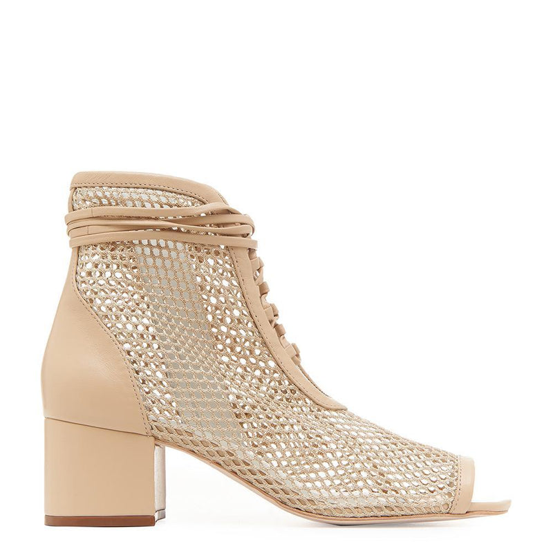 Daniella Shevel Nola Nude Mesh Low Heel Open Toe Bootie Side View