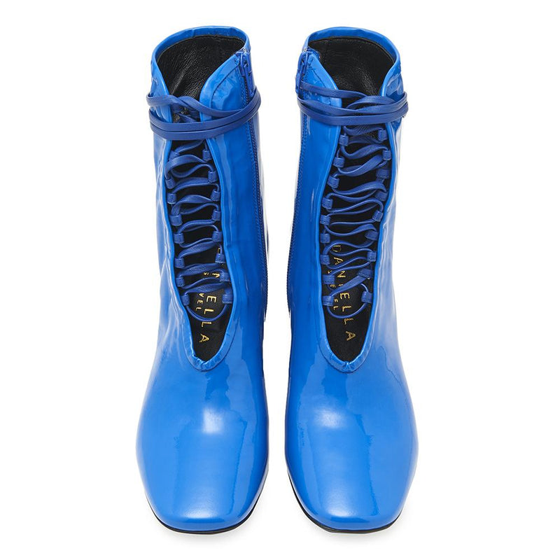 Daniella Shevel BellaDonna Blue Patent Leather Boot with Heel and Blue Laces Front View