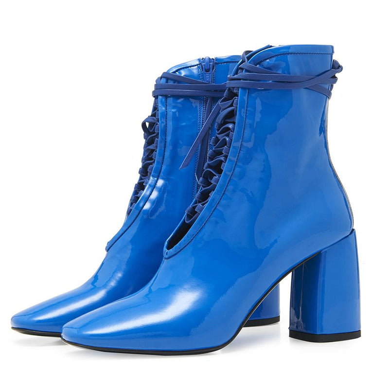 Daniella Shevel BellaDonna Blue Patent Leather Boot with Heel and Blue Laces Angle View