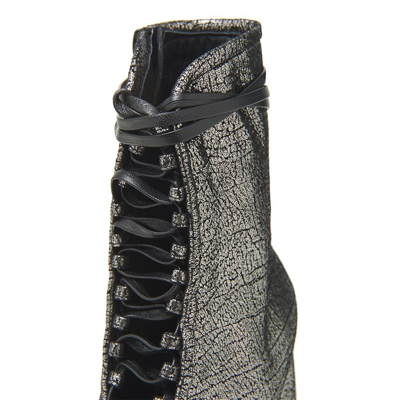 Daniella Shevel BellaDonna Metallic Silver Leather Boot with Heel and Laces Detail View