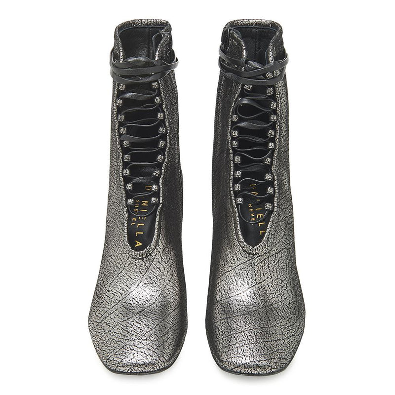 Daniella Shevel BellaDonna Metallic Silver Leather Boot with Heel and Laces Front View