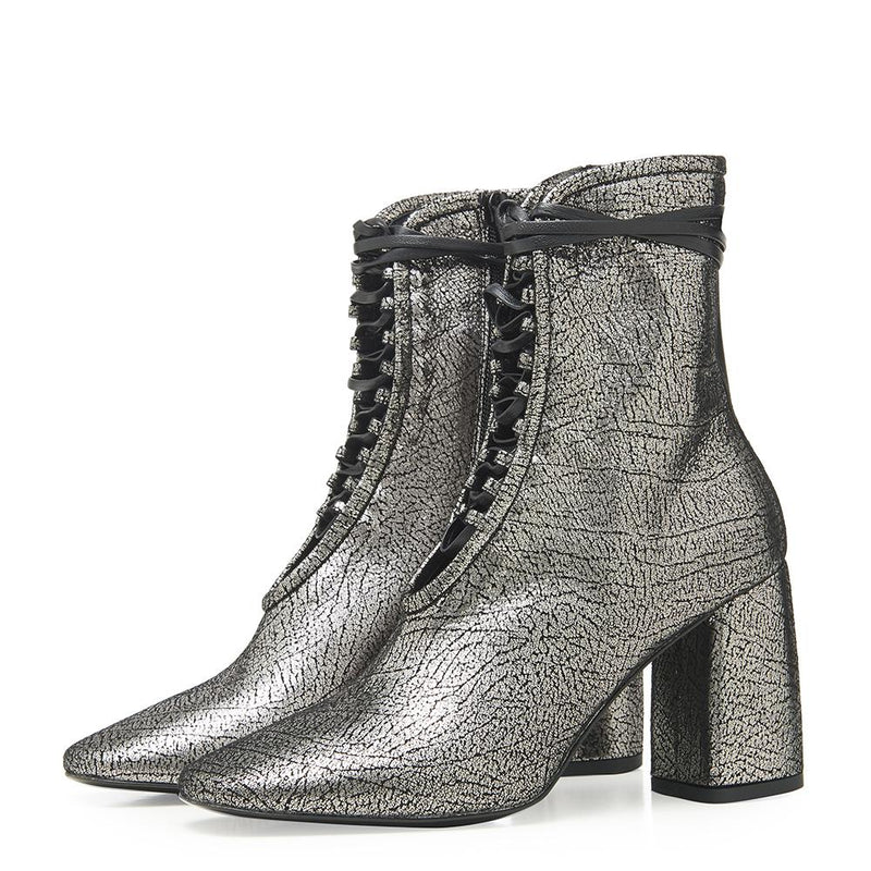 Daniella Shevel BellaDonna Metallic Silver Leather Boot with Heel and Laces Side Angle View
