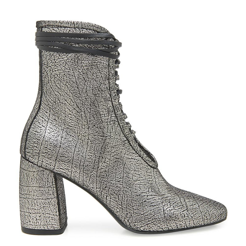 Daniella Shevel BellaDonna Metallic Silver Leather Boot with Heel and Laces Side View