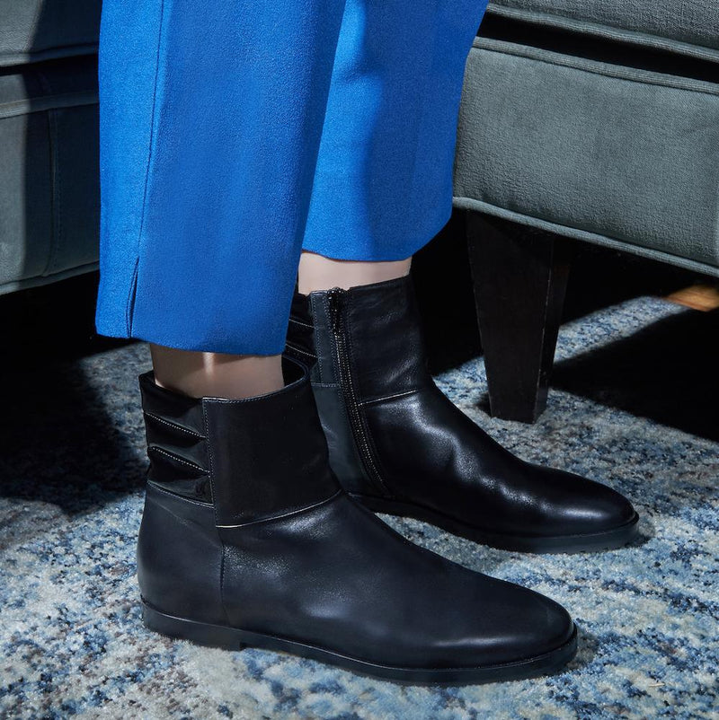 New Moon Womens Calf Leather Black Boot with Leather and Patent Leather Upper Styled With Blue Pants
