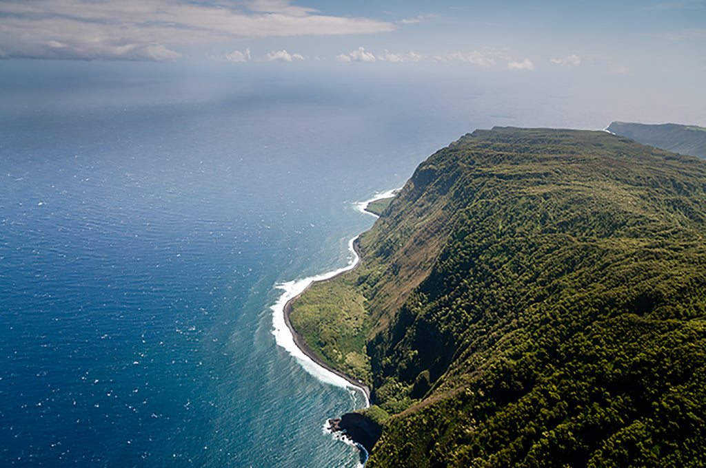 Aerial picture of part of Molokai island coast, Hawaii