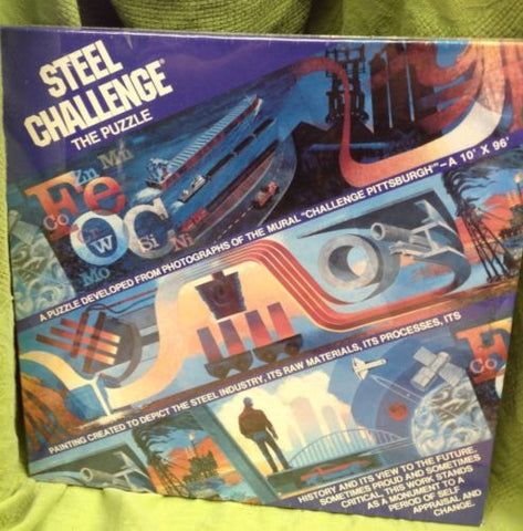 "STEEL CHALLENGE Pittsburgh PA jigsaw puzzle new sealed 600 pieces 10"" H x 64"" L"