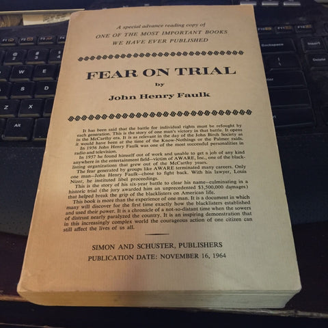 ARC advance reading copy! 1964 Fear on Trial by Faulk