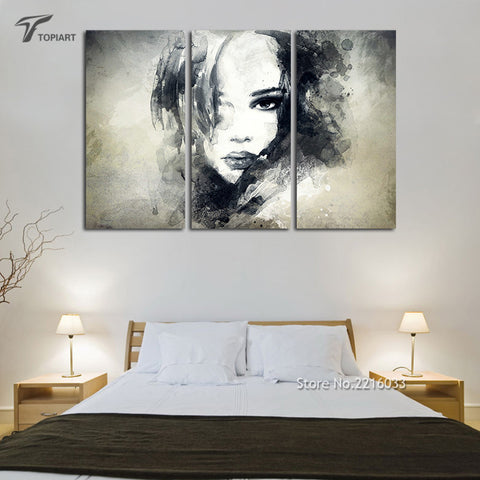 Watercolor Black And White Art Woman Face Abstract Canvas Print