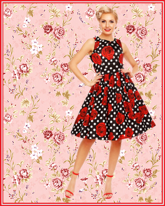 Annie Retro Floral Swing Dress in Black Rose Polka