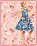 Annie Retro Swing Dress in Blue Flamingo