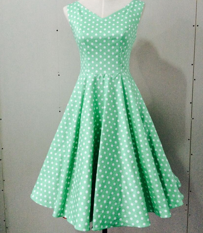 Mint & White Polka Dot Swing Dress