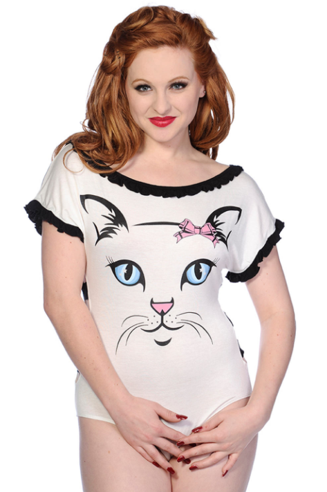 WHITE CAT FACE BODYSUIT Banned Apparel