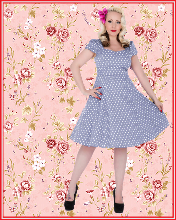 Claudia Polka Dot Dress in Light Blue