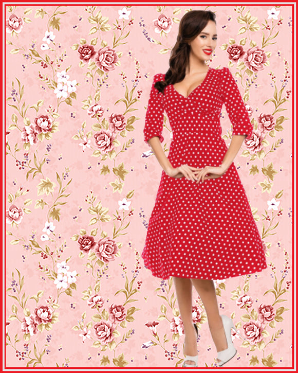 Katherine Swing Dress With Three Quarter Sleeves in Red Polka