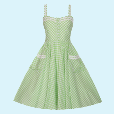 Green Gingham Summer Rockabilly Shirt Dress