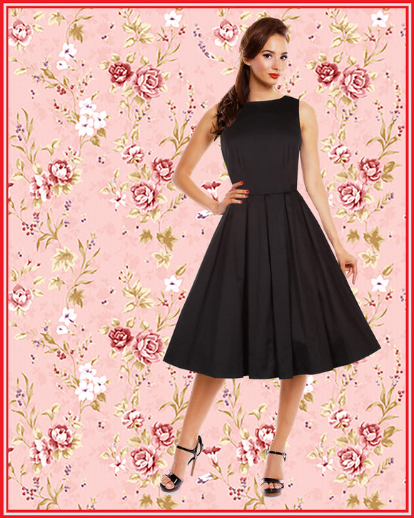 Lola Retro Swing Dress with Pockets in Black