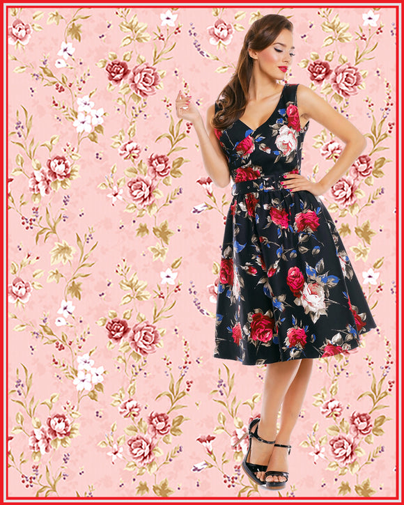 May V-neck 50's Style Swing Dress in Black Red Floral