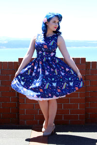 Audrina Space Unicorn Print Swing Dress