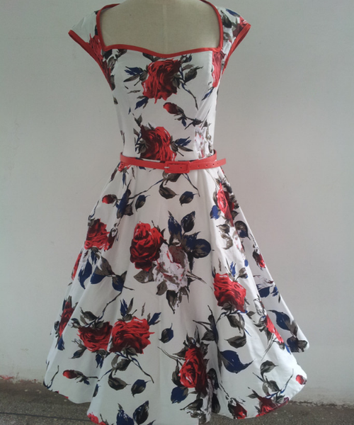 Roses are Red & Blue Swing Dress